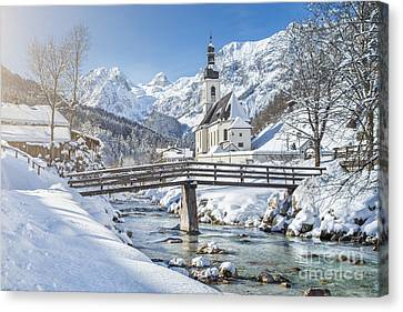 Ramsau In Winter Canvas Print by JR Photography