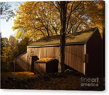 Red Barn At Dawn Canvas Print by Joshua Francia