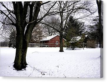 Red Barn In Winter Canvas Print