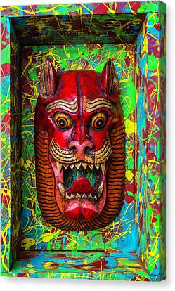 Red Cat Mask Canvas Print by Garry Gay