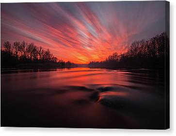Canvas Print featuring the photograph Red Dusk by Davorin Mance