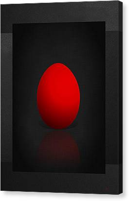 Pop Art Canvas Print - Red Egg On Black Canvas  by Serge Averbukh