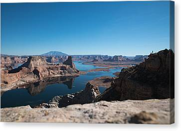 Red Rocks Drifting In Lake Powell Canvas Print