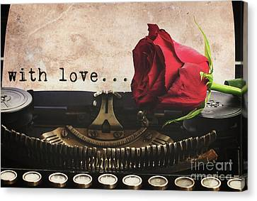 Red Rose On Typewriter Canvas Print