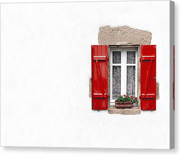 Red Shuttered Window On White Canvas Print