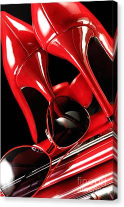 Red Stylish Accessories Canvas Print by Oleksiy Maksymenko