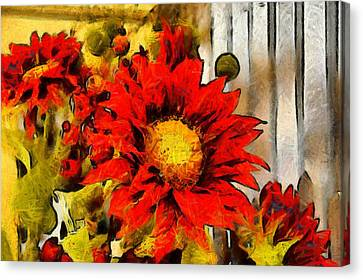 Red Sunflower Painting Canvas Print by Floyd Snyder