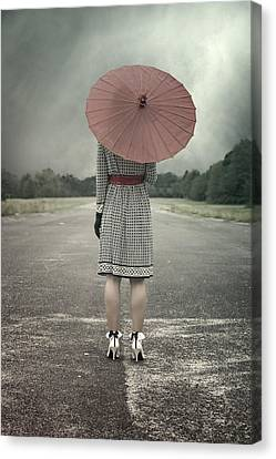 Red Umbrella Canvas Print by Joana Kruse