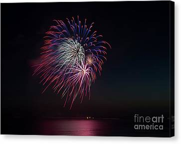 Red Fireworks Canvas Print - Red, White And Blue by Mike Dawson