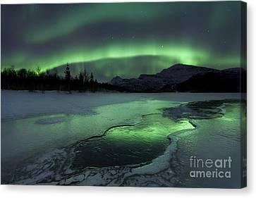 Reflected Aurora Over A Frozen Laksa Canvas Print by Arild Heitmann
