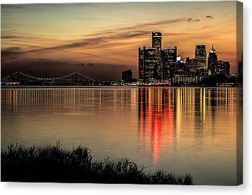 Reflections Of Detroit Canvas Print by Pat Eisenberger