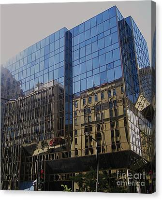 Reflections Of Montreal Canvas Print by Reb Frost