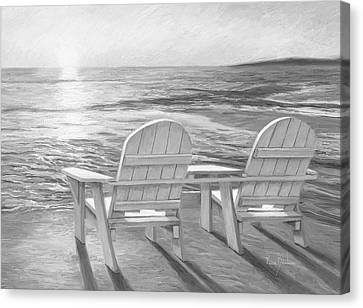 Relaxing Sunset - Black And White Canvas Print by Lucie Bilodeau