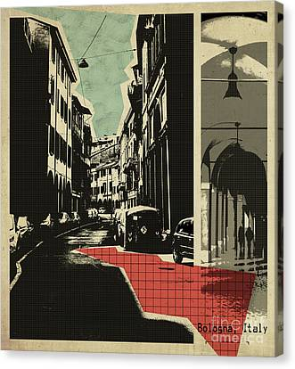retro postcard of Bologna Canvas Print