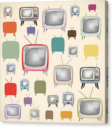 Broadcast Canvas Print - retro TV pattern  by Setsiri Silapasuwanchai