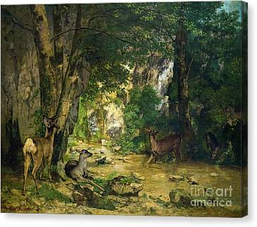 Return Of The Deer To The Stream At Plaisir Fontaine, La Remise  Canvas Print