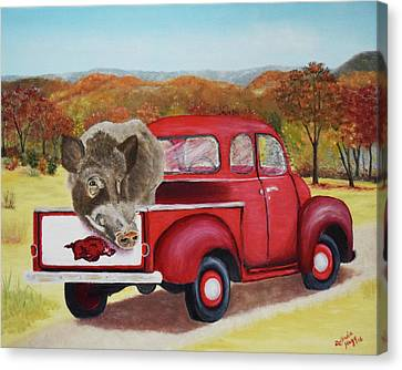 Calling The Hogs Canvas Print - Ridin' With Razorbacks 2 by Belinda Nagy