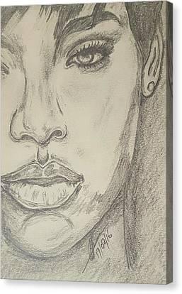Rihanna 3 Canvas Print by Collin A Clarke