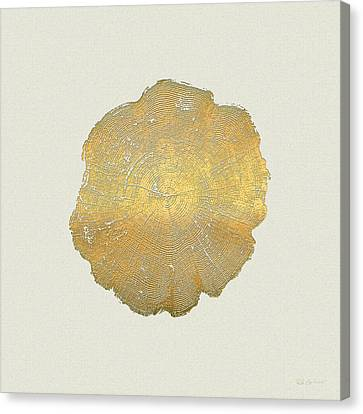 Rings Of A Tree Trunk Cross-section In Gold On Linen  Canvas Print by Serge Averbukh