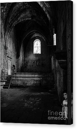 Canvas Print featuring the photograph Rioseco Abandoned Abbey Nave Bw by RicardMN Photography