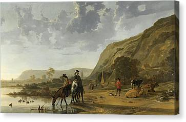River Landscape With Horsemen Canvas Print