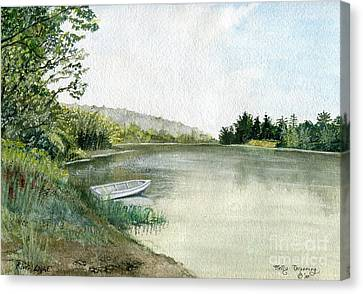 Canvas Print featuring the painting River Light by Melly Terpening