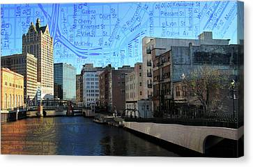 River View Theater District Tall W Map Canvas Print by Anita Burgermeister