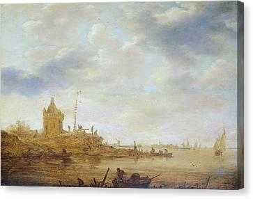 River View With Guard Canvas Print by Jan van Goyen