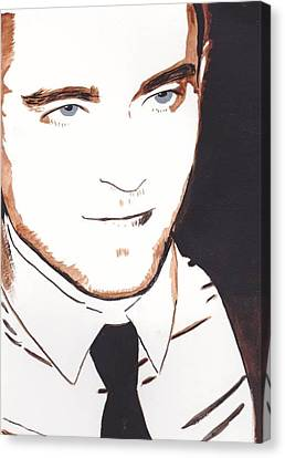 Canvas Print featuring the painting Robert Pattinson 11 by Audrey Pollitt