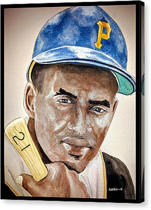 Roberto Clemente - Watercolor Painting Canvas Print by Edwin Alverio