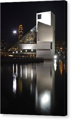 Rock And Roll Hall Of Fame At Night Canvas Print by At Lands End Photography