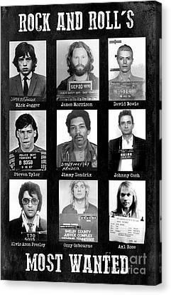 Jim Morrison . Legend Canvas Print - Rock And Rolls Most Wanted by Jon Neidert