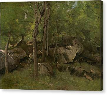 Rocks In The Forest Of Fontainebleau  Canvas Print by Jean-Baptiste-Camille Corot