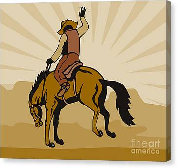 Rodeo Cowboy Bucking Bronco Canvas Print by Aloysius Patrimonio
