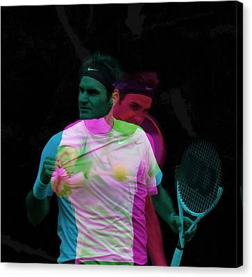 Roger Federer Double Color Exposure Canvas Print