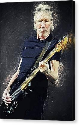 Canvas Print featuring the digital art Roger Waters by Taylan Apukovska