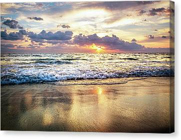 Rolling In With The Tide Canvas Print by Debra and Dave Vanderlaan