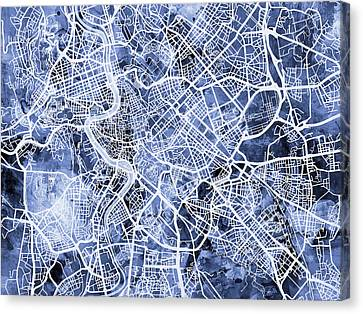 Roma Canvas Print - Rome Italy City Street Map by Michael Tompsett