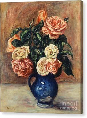Roses In A Blue Vase Canvas Print by Pierre Auguste Renoir
