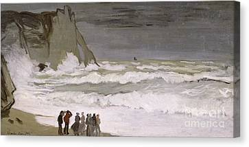 Rough Sea At Etretat Canvas Print by Claude Monet