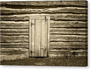 Rough Wood Door On Log Building Canvas Print by Donald  Erickson