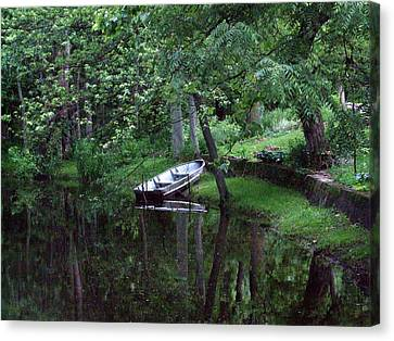 Rowboat In Woods Canvas Print by Michael L Kimble
