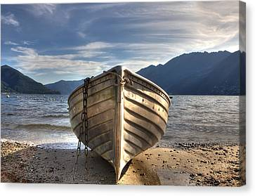Rowing Boat On Lake Maggiore Canvas Print