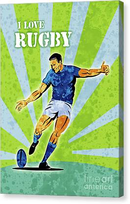 Rugby Player Kicking The Ball Canvas Print by Aloysius Patrimonio