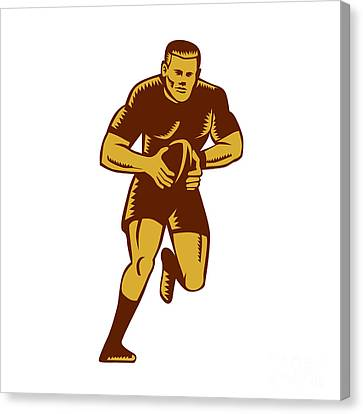 Rugby Player Running Ball Woodcut Canvas Print by Aloysius Patrimonio