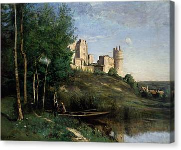 Ruins Of The Chateau De Pierrefonds Canvas Print by Jean-Baptiste-Camille Corot