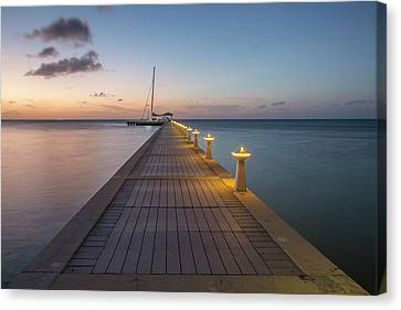 Canvas Print featuring the photograph Rum Point Pier At Sunset by Adam Romanowicz