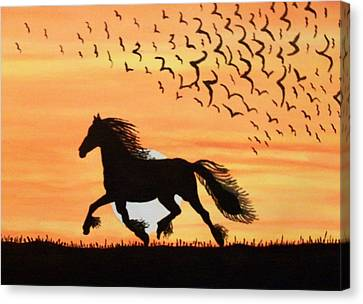 Running In The Wind Canvas Print by Connie Valasco