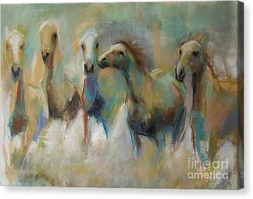 Running With The Palominos Canvas Print by Frances Marino