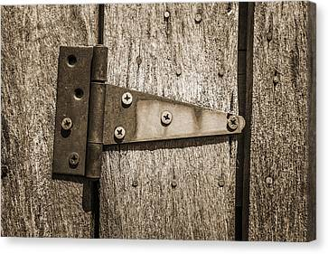 Rusty Hinge On Log Building Canvas Print by Donald  Erickson